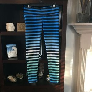 Danskin Blue Striped Leggings Size M